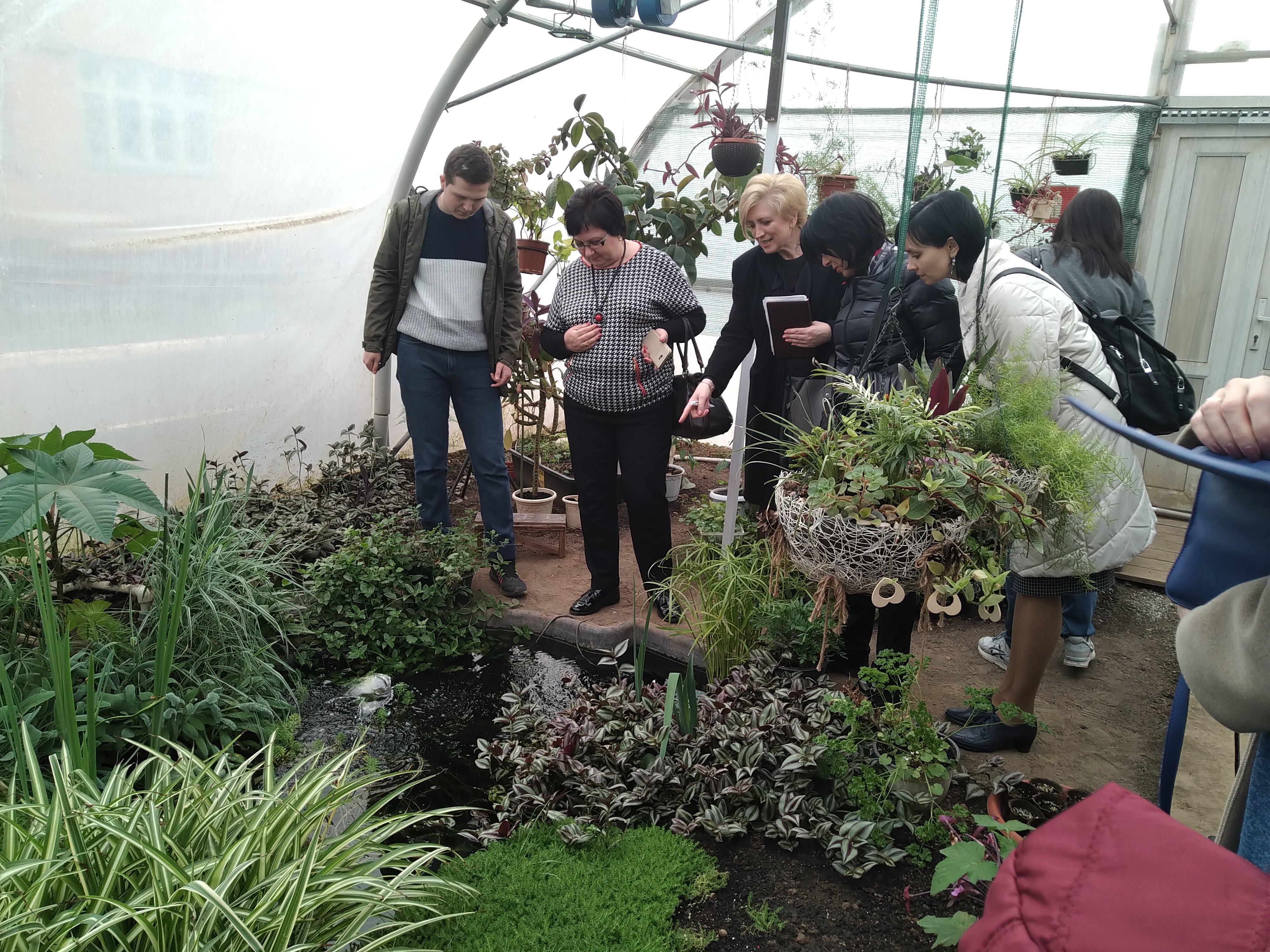 Делегация учителей у тритонового пруда оранжереи